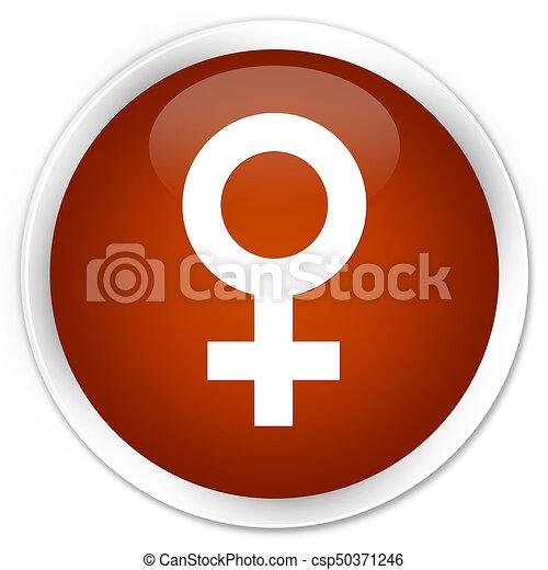 Female sign icon premium brown round button - csp50371246