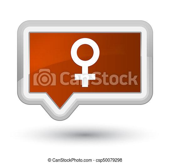 Female sign icon prime brown banner button - csp50079298