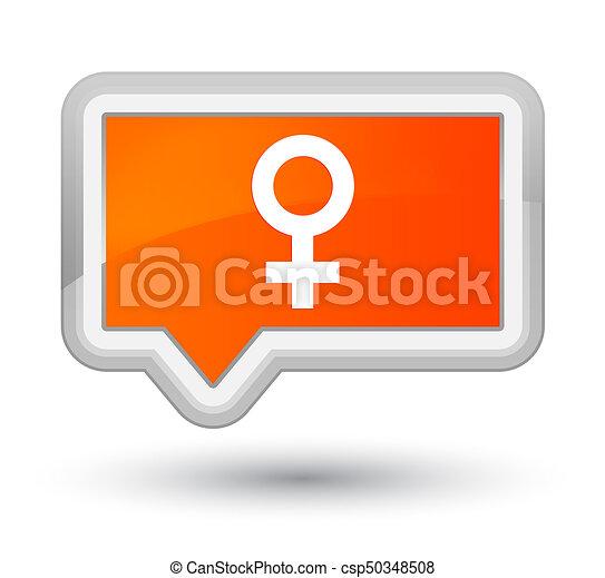 Female sign icon prime orange banner button - csp50348508
