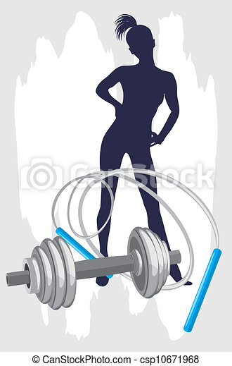 Female silhouette and dumbbell - csp10671968