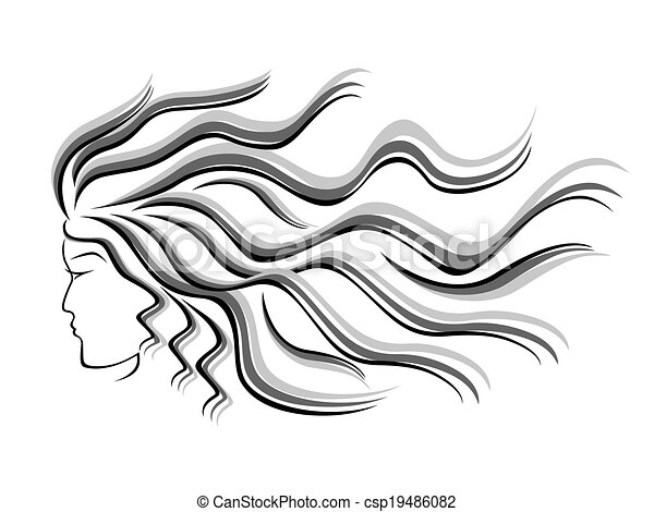 Female silhouette head with flowing hair - csp19486082