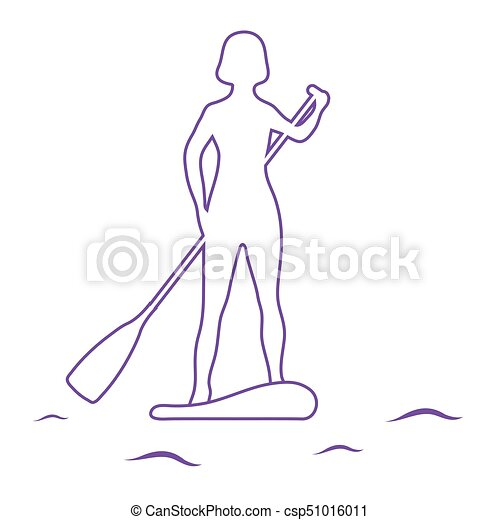Female Silhouette On Stand Up Paddle Board SUP