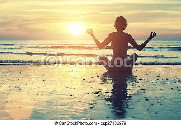 female silhouette yoga meditation female silhouette in