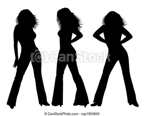 Female silhouettes black white - csp1854843