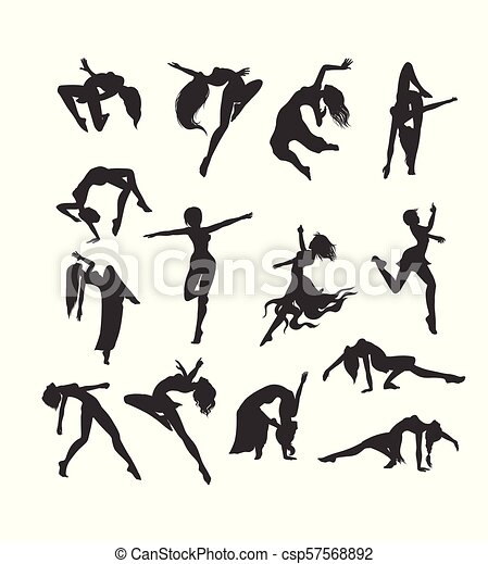 Female Silhouettes In Dance Silhouette Of Dancers Simple Female Silhouettes In Dance Silhouette Of Dancers Vector