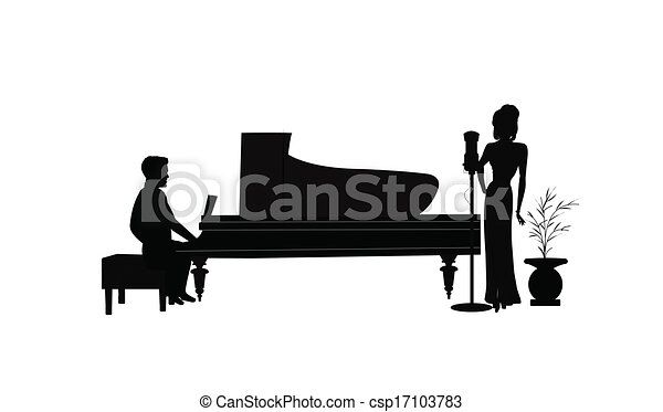 female singer with piano player - csp17103783