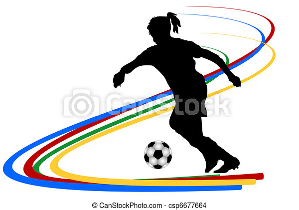 soccer player clip art and stock illustrations 31 876 soccer player rh canstockphoto com girl soccer clipart black and white girl with soccer ball clipart