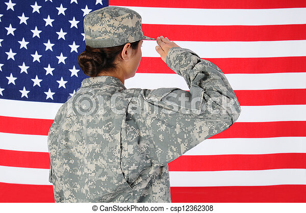 Female Soldier Saluting Flag - csp12362308