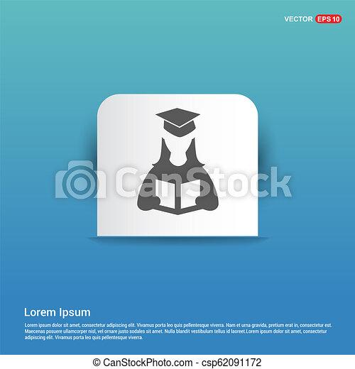 Female student icon - Blue Sticker button - csp62091172