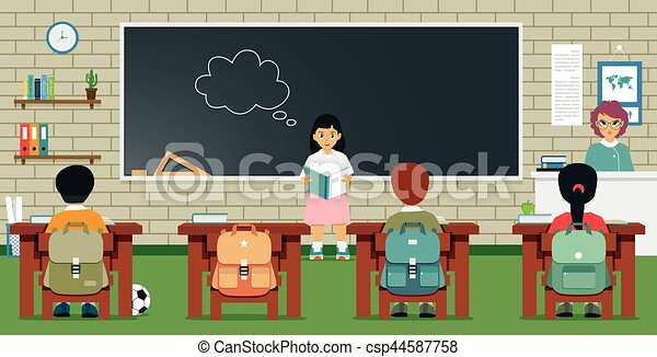 Female student reading a book in the classroom. - csp44587758
