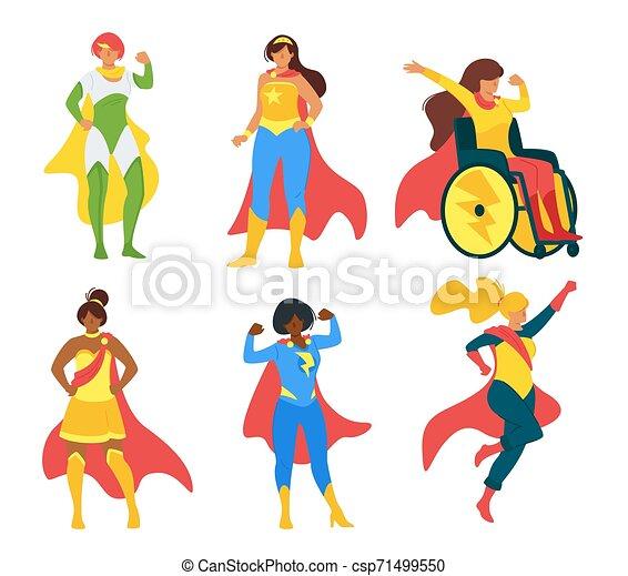 Female Superheroes Flat Vector Illustration Collection Women
