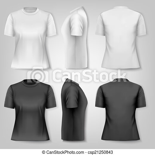 Female T-shirts with sample text space. Vector. - csp21250843