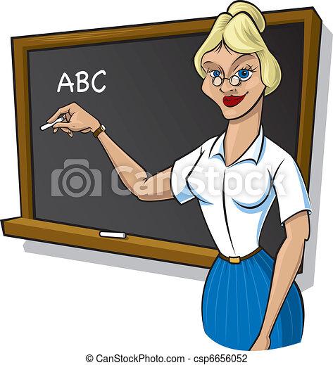 Female teacher in front of blackboa - csp6656052