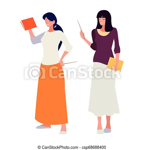 female teachers couple with textbooks characters - csp68688400