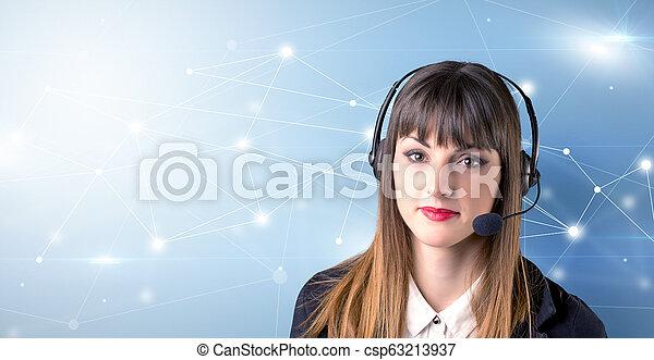 Female telemarketer concept - csp63213937