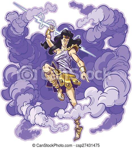Female Thunder Goddess or Titan - csp27431475
