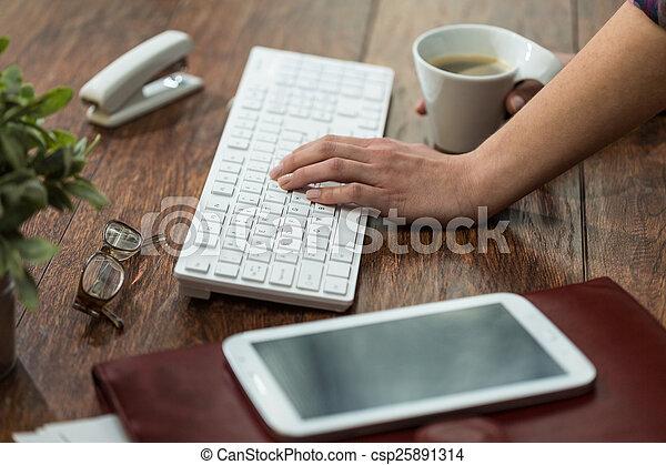 Female typing on keyboard - csp25891314