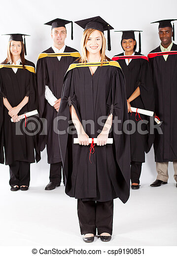 female university student at graduation - csp9190851