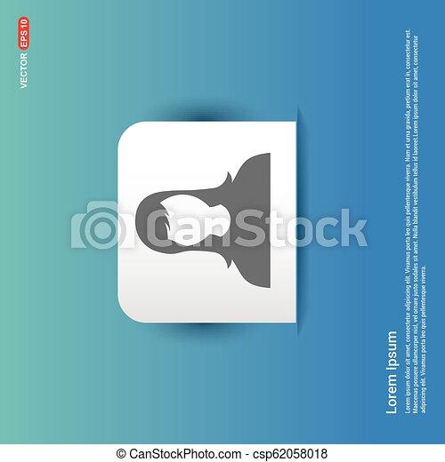 Female User Icon - Blue Sticker button - csp62058018