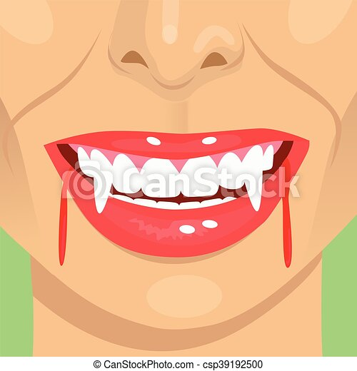 Female Vampire Bloody Mouth Showing Fangs