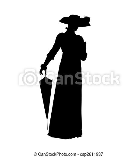 Female Victorian Illustration Silhouette - csp2611937