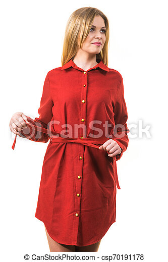 Female wearing casual red dress - csp70191178