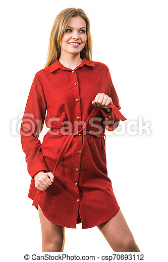 Female wearing casual red dress - csp70693112
