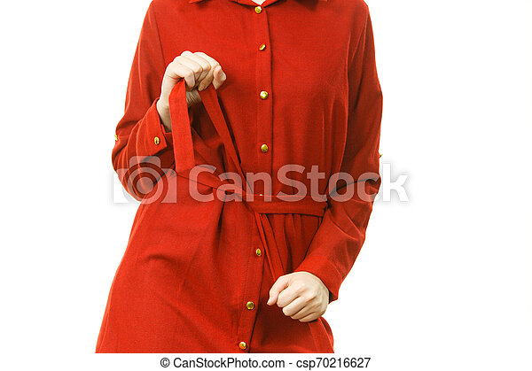Female wearing casual red dress - csp70216627