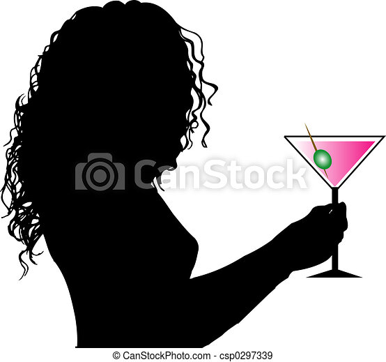Female with drink - csp0297339