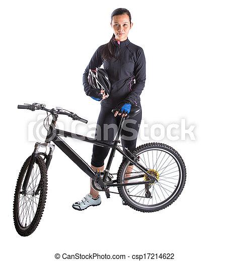 Female With Mountain Bike - csp17214622