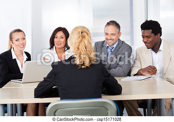Female Woman Sitting At Interview - csp15171028
