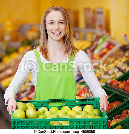 Female Worker Carrying Apple's Crate In Grocery Store - csp14506058