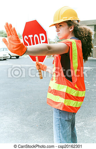 Female Worker Directs Traffic - csp20162301