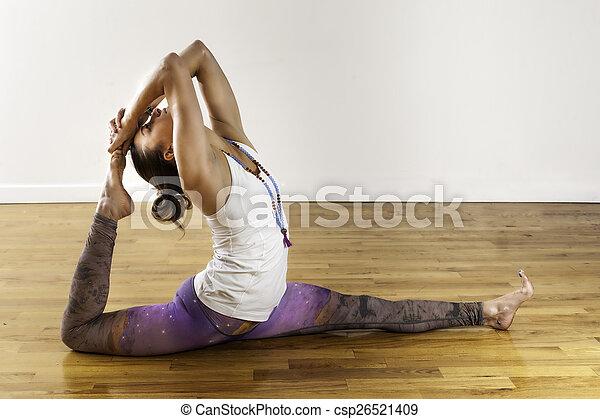 female yoga hanuman variation splits pose thigh stretch