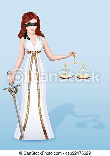 femida, kvinde, skalaer, retfærdighed, gudinde, illustration, sværd - csp32476629