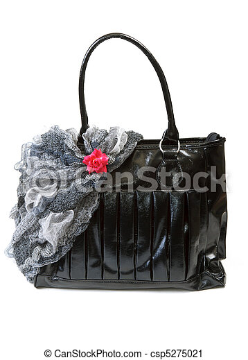 Feminine bag with scarf and red rose - csp5275021