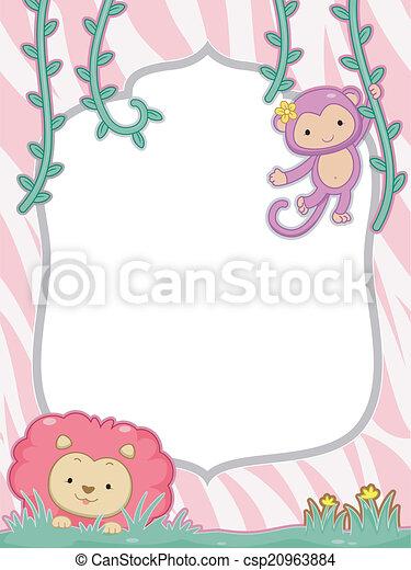 Feminine safari frame. Feminine frame illustration featuring a cute ...
