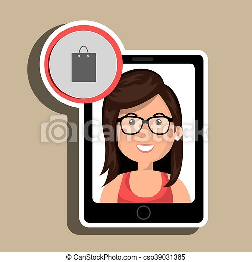 Femme Ecran Smartphone Noir Shoppi Dessin Anime