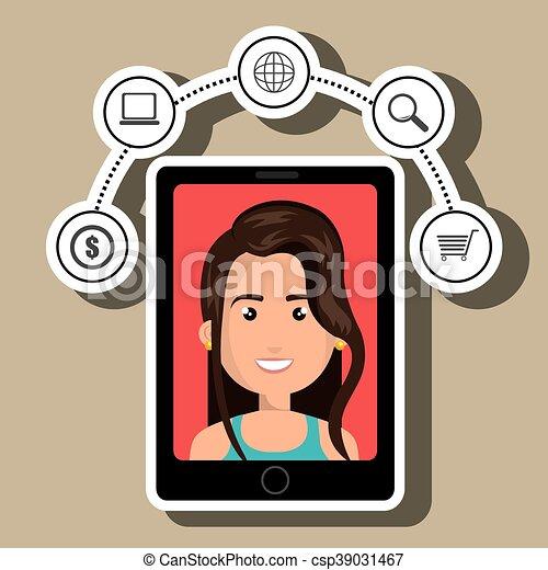 Femme Ecran Symboles Smartphone Noir Dessin Anime