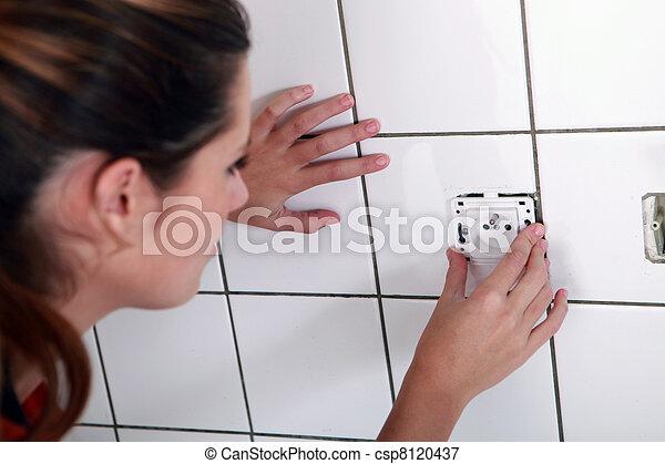 femme, électrique, installation, douille - csp8120437