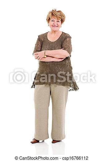 femme aînée, armes traversés - csp16766112