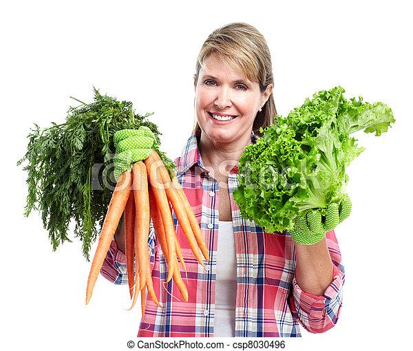 femme aînée, vegetables. - csp8030496