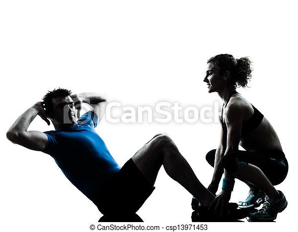 femme, abdominal, séance entraînement, exercisme, fitness, homme - csp13971453
