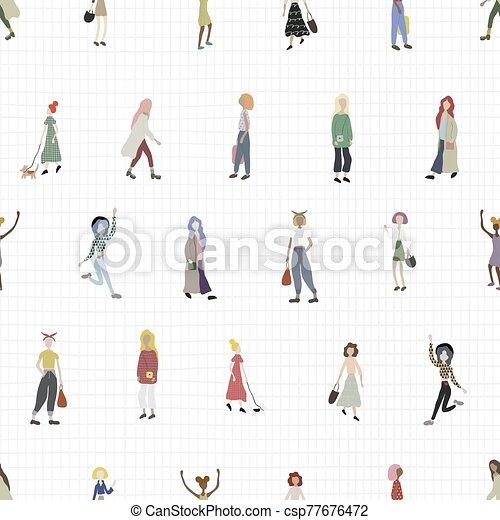 femme, achats, chien, danse, marche, gens, blanc, foule, ville, vérifié, rue., arrière-plan., isolé, debout, caractères - csp77676472