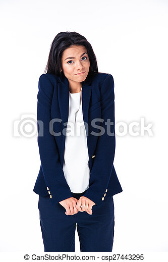 femme affaires, épaules, elle, gesticulation - csp27443295