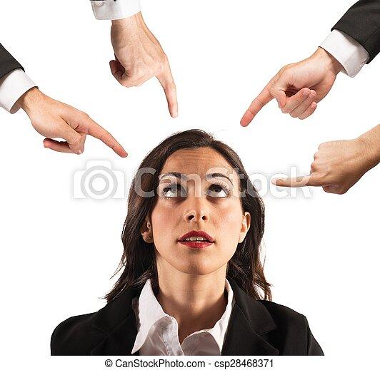 femme affaires, blâmé, unfairly - csp28468371