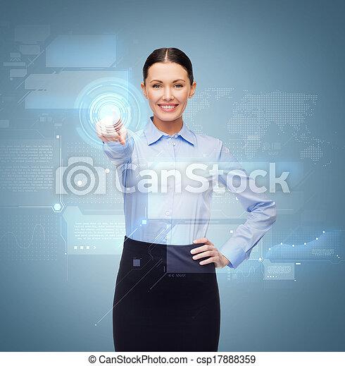femme affaires, bouton, doigt indique, sourire - csp17888359