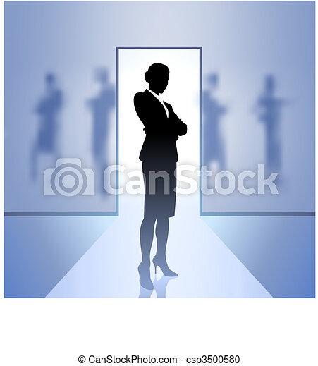 femme affaires, cadre, foyer, arrière plan flou - csp3500580