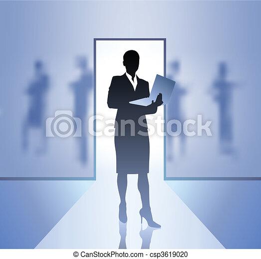 femme affaires, cadre, foyer, arrière plan flou - csp3619020