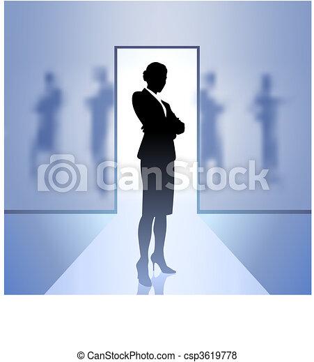 femme affaires, cadre, foyer, arrière plan flou - csp3619778
